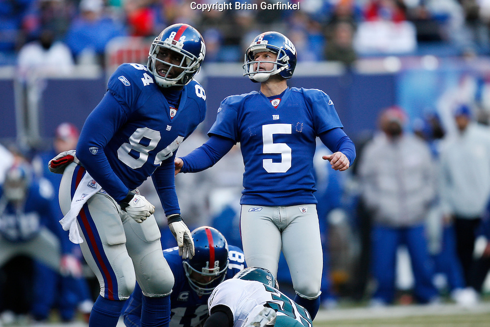 11 Jan 2009: New York Giants PK John Carney #5 during the game against the New York Giants on January 11th, 2009.  The  Eagles won 23-11 at Giants Stadium in East Rutherford, New Jersey.