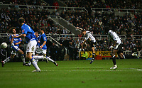 Photo: Andrew Unwin.<br /> Newcastle United v Birmingham City. The FA Cup. 17/01/2007.<br /> Newcastle's James Milner (C) scores his team's first goal.