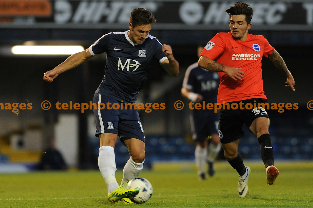 Southends Ryan Leonard and Brightons Jesse Starkey during the Checkatrade Trophy match between Southend United and Brighton and Hove Albion U23 at Roots Hall in Southend. August 30, 2016.<br />Holly  Allison / Telephoto Images<br />+44 7967 642437