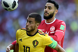 June 23, 2018 - Moscou, Russie - MOSCOW, RUSSIA - JUNE 23 : Eden Hazard midfielder of Belgium is fighting for the ball with Dylan Bronn defender of Tunisia during the FIFA 2018 World Cup Russia group G phase match between Belgium and Tunisia at the Spartak Stadium on June 23, 2018 in Moscow, Russia, 23/06/2018 (Credit Image: © Panoramic via ZUMA Press)