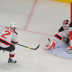 May 14, 2012: New Jersey Devils goalie Martin Brodeur (30) makes a blocker save during second period action in game 1 of the NHL Eastern Conference Finals between the New Jersey Devils and New York Rangers at Madison Square Garden in New York, N.Y.