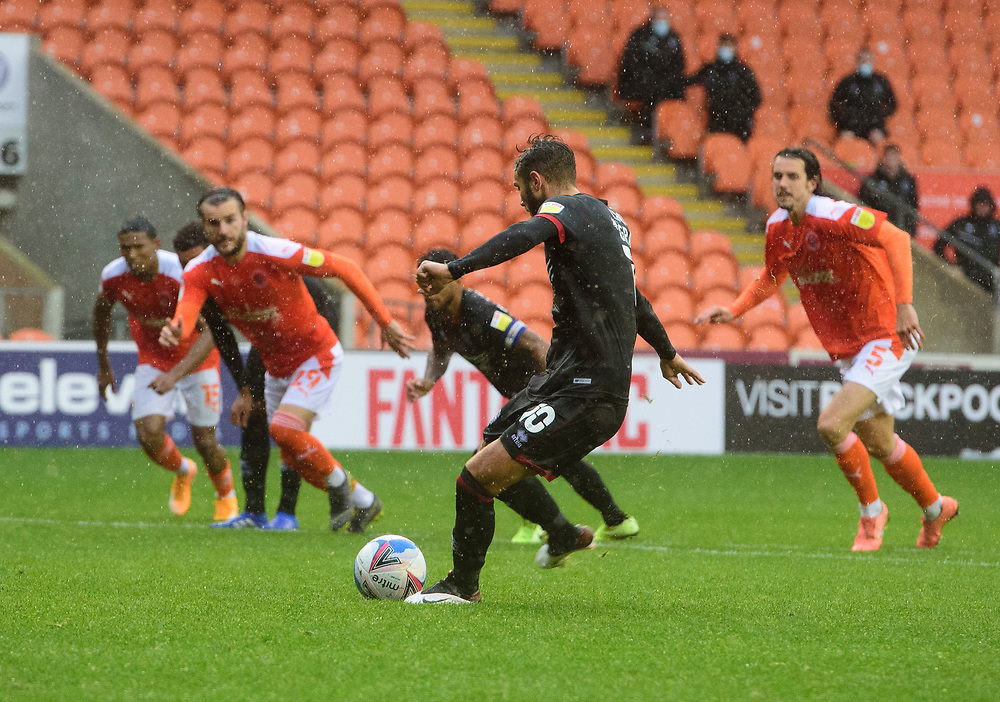 Lincoln City's Jorge Grant scores his side's second goal from the penalty spot<br /> <br /> Photographer Chris Vaughan/CameraSport<br /> <br /> The EFL Sky Bet League One - Blackpool v Lincoln City - Saturday 3rd October 2020 - Bloomfield Road - Blackpool<br /> <br /> World Copyright © 2020 CameraSport. All rights reserved. 43 Linden Ave. Countesthorpe. Leicester. England. LE8 5PG - Tel: +44 (0) 116 277 4147 - admin@camerasport.com - www.camerasport.com