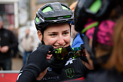 Sheyla Gutierrez borrows Jelena Eric's glasses to check her outfit at Drentse 8 van Westerveld 2018 - a 142 km road race on March 9, 2018, in Dwingeloo, Netherlands. (Photo by Sean Robinson/Velofocus.com)