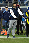 Tennessee Titans head coach Mike Vrabel calls out and signals intentional grounding from the sideline during the week 14 regular season NFL football game against the Jacksonville Jaguars on Thursday, Dec. 6, 2018 in Nashville, Tenn. The Titans won the game 30-9. (©Paul Anthony Spinelli)