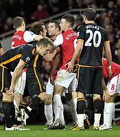 Barclays Premier League  Arsenal v Wolves<br />Stephen Hunt squares up to Robin Van Persie after Milijas red card