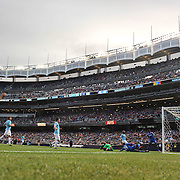 Ramires, (right), Chelsea, scores the second of his two goals,  during the Manchester City V Chelsea friendly exhibition match at Yankee Stadium, The Bronx, New York. Manchester City won the match 5-3. New York. USA. 25th May 2012. Photo Tim Clayton