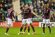 Olly Lee (#8) of Heart of Midlothian celebrates with his team mates after scoring a goal during the Ladbrokes Scottish Premiership match between Hibernian FC and Heart of Midlothian FC at Easter Road Stadium, Edinburgh, Scotland on 29 December 2018.