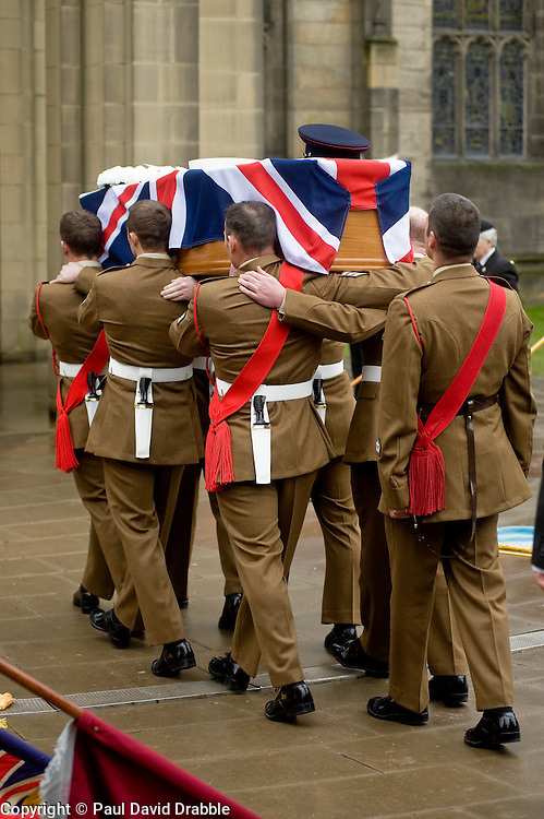 """Barer party made up of Soldiers from The Yorkshire Regiment carry Corporal Liam Rileys coffin into Sheffield Cathedral where his Funeral service took place on Wednesday 24 February.   ..Corporal Riley of 3rd Battalion Yorkshire Regiment who died in an explosion in Afghanistan on 1 February 2010 while on foot patrol south of the Kings Hill check point Helmand. ..Upon hearing of Liam's death he was described by Price Harry as """"a legend"""""""