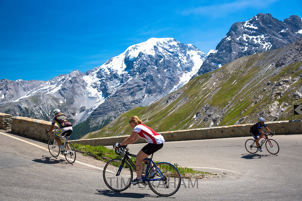 Cyclists ride roadbikes (woman rides Gazelle) uphill on The Stelvio Pass, Passo dello Stelvio, Stilfser Joch, in the Alps, Italy