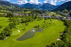 THEMENBILD - Green des Golfclub Kitzbühel, in Blickrichtung Jochberg, Pass Thurn, Luftaufnahme bei Schönwetter am Mittwoch 27. Mai 2020 in Kitzbühel // Green of the Kitzbühel Golf Club, looking towards Jochberg, Pass Thurn, aerial view in fine weather on Wednesday, May 27, 2020 in Kitzbühel. EXPA Pictures © 2020, PhotoCredit: EXPA/ Johann Groder