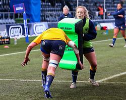Sarah Nicholas of Worcester Warriors Women carries a tackle bag - Mandatory by-line: Nick Browning/JMP - 09/01/2021 - RUGBY - Sixways Stadium - Worcester, England - Worcester Warriors Women v DMP Durham Sharks - Allianz Premier 15s