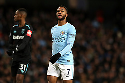 """Manchester City's Raheem Sterling during the Premier League match at the Etihad Stadium, Manchester. PRESS ASSOCIATION Photo. Picture date: Sunday December 3, 2017. See PA story SOCCER Man City. Photo credit should read: Martin Rickett/PA Wire. RESTRICTIONS: EDITORIAL USE ONLY No use with unauthorised audio, video, data, fixture lists, club/league logos or """"live"""" services. Online in-match use limited to 75 images, no video emulation. No use in betting, games or single club/league/player publications."""