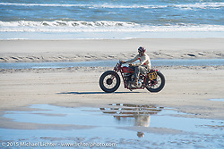 Go Takamine on his custom Indian Chief Born Free bike at The Race of Gentlemen. Wildwood, NJ, USA. October 11, 2015.  Photography ©2015 Michael Lichter.