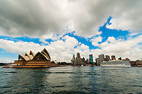 Sydney Opera House and a cruise ship docked at Circular Quay, Sydney, New South Wales, Australia