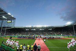 Italy and England line up for the anthems<br /> <br /> Photographer Craig Thomas/Replay Images<br /> <br /> Quilter International - England v Italy - Friday 6th September 2019 - St James' Park - Newcastle<br /> <br /> World Copyright © Replay Images . All rights reserved. info@replayimages.co.uk - http://replayimages.co.uk