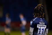 Sale Sharks wing Marland Yarde during a Gallagher Premiership Round 12 Rugby Union match, Friday, Mar 05, 2021, in Eccles, United Kingdom. (Steve Flynn/Image of Sport)