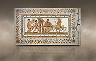 Picture of a Roman mosaics design depicting Dionysus drunk being transported on a chariot pulled by a centaur, they are followed by a Bacchante, follower of Bacchus, and a Satyr, from the ancient Roman city of Thysdrus. 3rd century AD House of Tertulla. El Djem Archaeological Museum, El Djem, Tunisia. Against an art background .<br /> <br /> If you prefer to buy from our ALAMY PHOTO LIBRARY Collection visit : https://www.alamy.com/portfolio/paul-williams-funkystock/roman-mosaic.html . Type - El Djem - into the LOWER SEARCH WITHIN GALLERY box. Refine search by adding background colour, place, museum etc<br /> <br /> Visit our ROMAN MOSAIC PHOTO COLLECTIONS for more photos to download as wall art prints https://funkystock.photoshelter.com/gallery-collection/Roman-Mosaics-Art-Pictures-Images/C0000LcfNel7FpLI