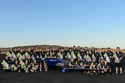 The crew for Unlimited class racer Precious Metal with F1 racer Hot Stuff at the 2015 Reno Air Races.