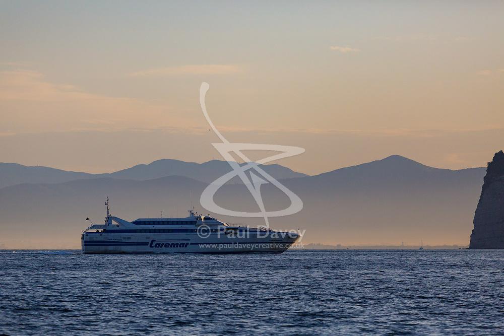 Sorrento, Italy, September 16 2017. A ferry arrives at dawn in Marina Piccola, Sorrento, Italy. © Paul Davey