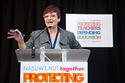 Christine Blower, Gen Secretary of the NUT and  speaks at the NUT and NASUWT rally at the end of the strike and march in London. Thousands of teachers took to the streets of London in a march of prostest against Government cuts and proposed longer hours and later pensions as part of a nation wide strike. Michael Gove, the Secretary of State for Education is the prime taget of the teacher's venon and anger.