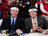 FAYETTEVILLE, AR - JANUARY 29:   ESPN announcers Jimmy Dykes and Brad Nessler wear wigs and head bands given out to show support for Courtney Fortson of the Arkansas Razorbacks during the game against the Alabama Crimson Tide at Bud Walton Arena on January 29, 2009 in Fayetteville, Arkansas.  The Razorbacks defeated the Crimson Tide 89-80.  (Photo by Wesley Hitt/Getty Images) *** Local Caption *** University of Arkansas Razorback Men's and Women's athletes action photos during the 2008-2009 season in Fayetteville, Arkansas....©Wesley Hitt.All Rights Reserved.501-258-0920.