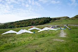 Hang gliders landed in a field below Mam Tor, Castleton,  in the Peak National Park   <br /> 11 October 2015<br />  Image © Paul David Drabble <br />  www.pauldaviddrabble.co.uk