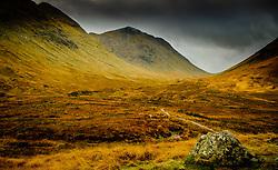Stormy autumn weather on the path to Glen Etive from Rannoch Moor, Highlands of Scotland<br /> <br /> (c) Andrew Wilson | Edinburgh Elite media