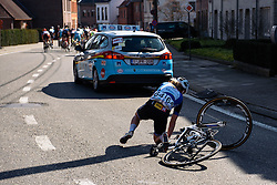Janicke Gunvaldsen (Hitec Products) takes a tumble but is quick to chase back - Women's Ronde van Vlaanderen 2016. A 141km road race starting and finishing in Oudenaarde, Belgium on April 3rd 2016.