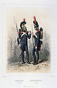 A Sapper, left, and a Gunner.  Hand-coloured engraving from 'Napoleon I er la Garde Imperiale', Paris, 1859, by Eugene Fieffe. Soldier, French, France, Uniform, History