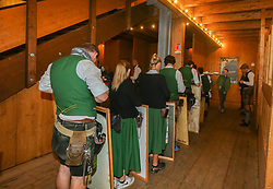 October 4, 2018 - Munich, Bavaria, Germany - Some waiters waiting in the Schuetzenzelt on Day 12 of the Oktoberfest. The Oktoberfest is the largest Volksfest in the world. It will take place until Sunday October 7. (Credit Image: © Alexander Pohl/NurPhoto/ZUMA Press)
