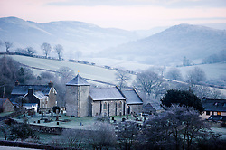 © Licensed to London News Pictures. 29/12/2014. St David's Church, Llanddewi'r Cwm, Powys, UK. After a cold night with temperatures dropping to minus 4 degrees Centigade, Mid Wales wakes up to a heavy frost.  Photo credit: Graham M. Lawrence/LNP