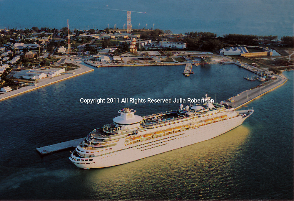Aerial Photograph of a cruise ship  in Key West at sunset, with Coast Guard Base