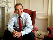 UK ENGLAND LONDON 30JUN05 - British Prime Minister Tony Blair reacts during interview in his study at 10 Downing Street, London. He granted a rare interview to foreign media in support of the London 2012 Olympic bid.<br /> Photography by Jiri Rezac<br /> Tel 0044 07947 884 517<br /> www.linkphotographers.com