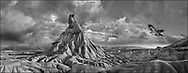 Sacred Stone - Black and white photo art print of the Castildeterra  Bardenas Riales  by Paul Williams. The Bardenas Reales Natural Park  is a semi-desert natural region famous for its rock formations.
