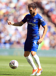 """Chelsea's Francesc Fabregas during the Community Shield match at Wembley Stadium, London. PRESS ASSOCIATION Photo. Picture date: Sunday August 5, 2018. See PA story SOCCER Community Shield. Photo credit should read: Adam Davy/PA Wire. RESTRICTIONS: EDITORIAL USE ONLY No use with unauthorised audio, video, data, fixture lists, club/league logos or """"live"""" services. Online in-match use limited to 75 images, no video emulation. No use in betting, games or single club/league/player publications."""