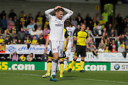 Fulham midfielder Oliver Norwood (16) shoots over the bar during the EFL Sky Bet Championship match between Burton Albion and Fulham at the Pirelli Stadium, Burton upon Trent, England on 16 September 2017. Photo by Richard Holmes.