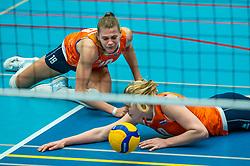 Nika Daalderop of Netherlands, Demi Korevaar of Netherlands in action during the Women's friendly match between Belgium and Netherlands at Topsporthal Beveren on may 09, 2021 in Beveren, Belgium (Photo by RHF Agency/Ronald Hoogendoorn)