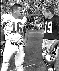 George Blanda with Raider QB Cotten Davidson.<br />(1964 photo/Ron Riesterer)