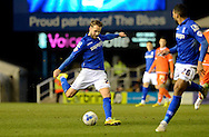 Andrew Shinnie has a shot  during the Sky Bet Championship match between Birmingham City and Blackpool at St Andrews, Birmingham, England on 4 March 2015. Photo by Alan Franklin.