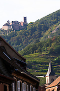 village roof tops ch. st ulrich in back ribeauville alsace france