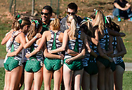 New York, New York - Runners and coaches from Dartmouth College huddle before the Ivy League Heptagonal women's<br /> cross country championship meet at Van Cortlandt Park in the Bronx on Oct. 26, 2017.