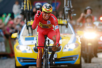Arrival CONTADOR Alberto (ESP) Red Leader Jersey Celebration during the 69th Tour of Spain UCI World Tour, Vuelta 2014, Stage 21, Time Trial, Santiago De Compostela - Santiago De Compostela El Final Del Camino (9,7km) on September 14, 2014. Photo Tim de Waele / DPPI