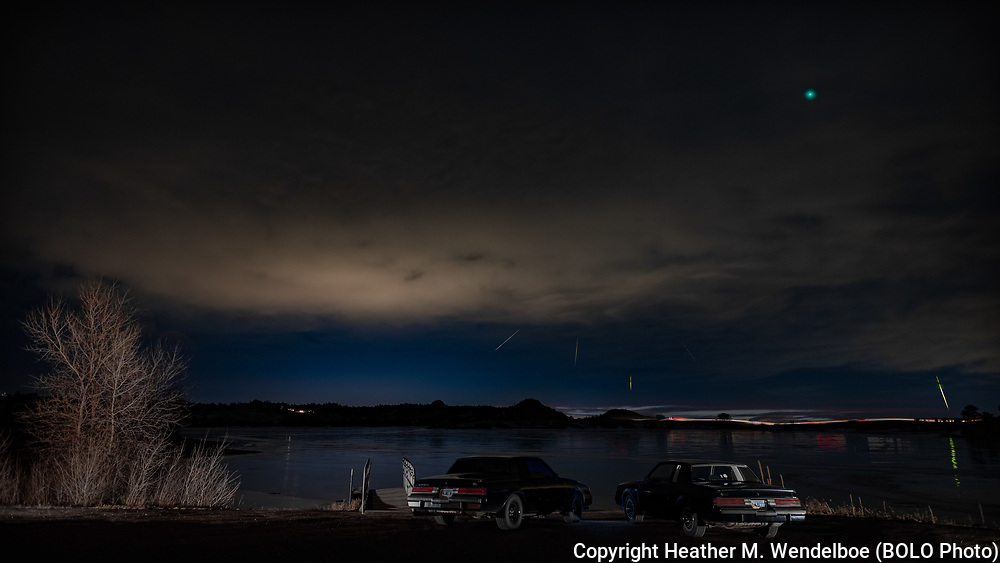 """BOLO Photo<br /> Wild West Automotive Photography<br /> Geminid Meteor Shower and Comet Wirtanen<br /> """"Turbo Twins Catching the Geminids""""<br /> 14-15 Dec 18<br /> Granite Springs Reservoir in Curt Gowdy State Park, Wyoming"""