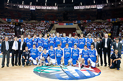 Svetislav Pesic, Edo Muric of Slovenia (8th from L in 2nd line) before the U-18 All Star game at EuroBasket 2009, on September 18, 2009 in Arena Spodek, Katowice, Poland.  (Photo by Vid Ponikvar / Sportida)