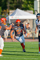 KELOWNA, BC - AUGUST 3:  Cory McCoy #54 of Okanagan Sun runs on the field against the Kamloops Broncos at the Apple Bowl on August 3, 2019 in Kelowna, Canada. (Photo by Marissa Baecker/Shoot the Breeze)