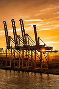 Cranes await a shipping freighter to load with cargo, Barcelona, Spain