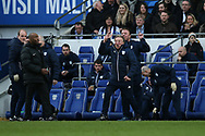 Cardiff city manager Neil Warnock (c) reacts on the touchline as he is furious with a 2nd half decision from the referee  Peter Bankes where Cardiff should have had a penalty after Junior Hoilett had been brought down in the area but the referee doesn't give it.  EFL Skybet championship match, Cardiff city v Birmingham City at the Cardiff city stadium in Cardiff, South Wales on Saturday 10th March 2018.<br /> pic by Andrew Orchard, Andrew Orchard sports photography.