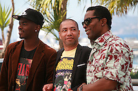 Abdoul Karim Konaté, Philippe Lacôte and Isaach De Bankolé at the photo call for the film Run at the 67th Cannes Film Festival, Saturday 17th May 2014, Cannes, France.