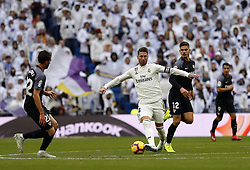 January 19, 2019 - Madrid, Madrid, Spain - Sergio Ramos (Real Madrid) seen in action during the La Liga match between Real Madrid and Sevilla FC at the Estadio Santiago Bernabéu in Madrid. (Credit Image: © Manu Reino/SOPA Images via ZUMA Wire)
