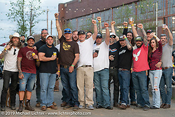 From left, Chris Avellino with cowboy hat, Jerry Merika in burgundy shirt, Dustin Cramer in white hat, Eric Stein in blue hat, Jason Bowman in white shirt, Mike Stephens behind Jason's arm, Andy Price in white shirt with Congregation hat, Ben Jordan in white hat, Jayson Moore in Speed King shirt, Chad w/ long Hair, Nick Jordan in red shirt, Jef Pearce in back, Heather Quinn and Scott Dior on end at the Congregation Show. Charlotte, NC. USA. Sunday April 15, 2018. Photography ©2018 Michael Lichter.